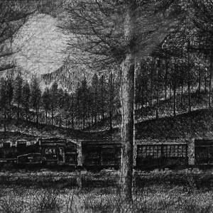 トレインアート 「森ゆく汽車」1997年製作 ペン画