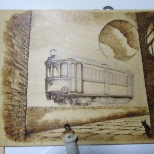「表現としての鉄道」工房にて、 トレインアート制作風景