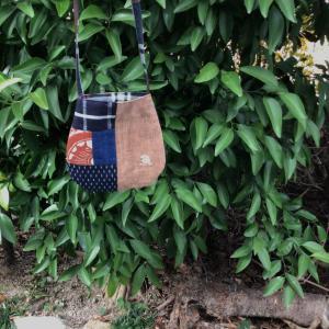 酒袋と古布のショルダーバッグ^_^