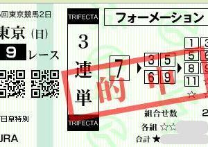 やっと的中!東京9R 3連単26,060円的中!