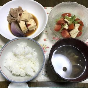 豆腐と豚肉の味噌煮とトマトとチーズのサラダ