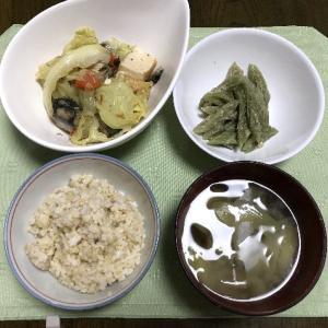 サバ缶と厚揚げキャベツの煮物とふきの胡麻和え