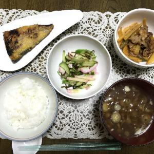 サバの西京焼きとインカのめざめと豚肉の洋風炒め
