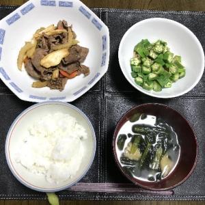 牛肉とセロリのオイスターソース炒めとオクラ納豆