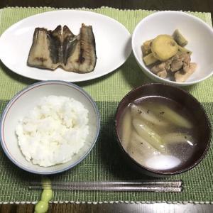 ホッケの開きとサツマイモと鶏肉の甘辛煮