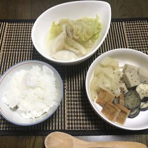 高野豆腐と茄子の煮物と水餃子