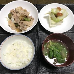 味付ザーサイと豚小間肉の炒め物