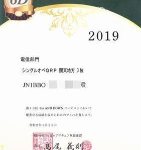 2019年度 6m and Downコンテスト 賞状