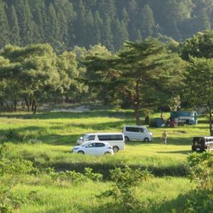 上島キャンプ場にぎわっています