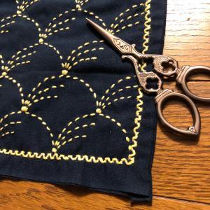 手作り☆刺し子布巾『野分』、約1年かかって完成❣️