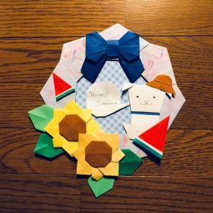 夏休みをテーマに折り紙リースを折ってみた☆