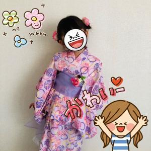 手作り浴衣と髪飾り&帯留めで、幼稚園花火大会☆
