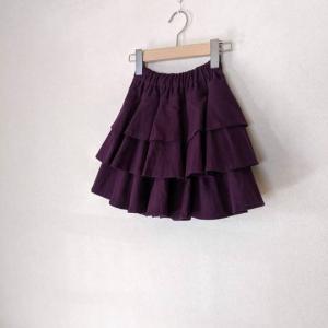 紫、フレアティアードパンツ