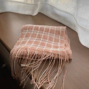 もじり織りのチェックストール  完成