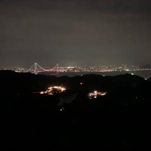 光輝く光。明石海峡大橋・神戸夜景。グランシャニオ 北斗七星135 展望台