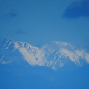 医王山紅葉 冠雪の槍ヶ岳と立山