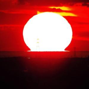 大乗寺丘陵から撮る夕陽