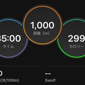 スイム練1,000m