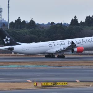 スターアライアンス仕様のSAS Airbus A340-300、そしてコスモクロック21を横から見ると