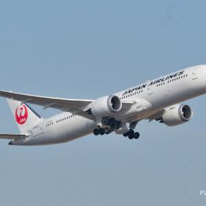 日本航空Boeing787-9がキレイな姿で上昇中✈、そして三渓園の旧矢箆原住宅にて