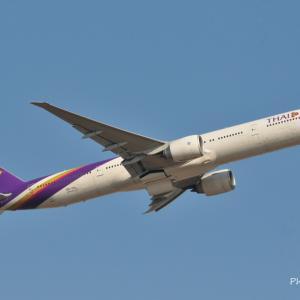 タイ国際のBoeing777-300ERが出発しました。そして三渓園の水辺にて