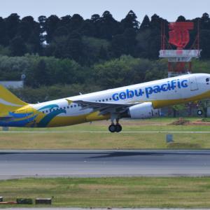 セブパシフィック航空のAirbus A320-200が出発しました。そして、豪華客船飛鳥Ⅱの船首