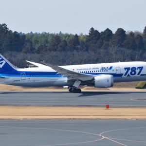787のロゴ付ANA-Boeing787-8が離陸しました。そして横浜みなとみらいの小さな灯台