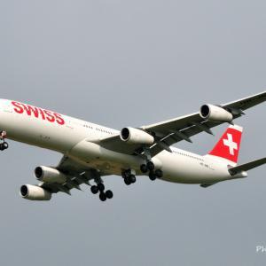 名残惜しい4発機その9_スイスインターナショナルエアラインズのAirbus A340-600、そして横浜みなとみらい臨港パークにて