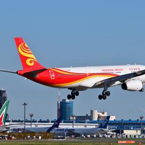 ホンコンエアラインズのAirbus A330-300が成田空港RWY16Rに到着です。そしてペリリュー島に残るアメリカ軍のLVT