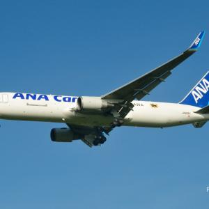 ANA カーゴ沖縄のBoeing767-300Fが到着です。そしてそろそろ本番!?🌻と🗻