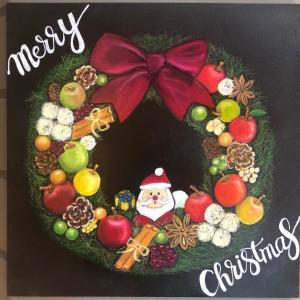 チョークアート!クリスマスバージョンと紅玉ジャム
