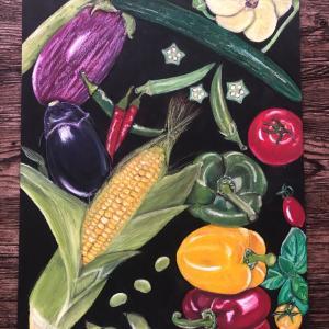 夏野菜とシャインマスカット!チョークアートとパリゴのパン