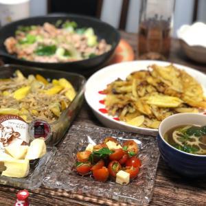 娘のお助けご飯と作り置きおかずの晩ごはん。中華風コーンスープ
