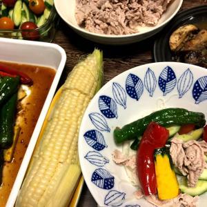 夏野菜たっぷり素麺。らっきょうのキムチ漬け