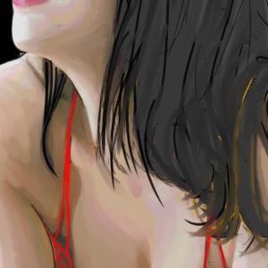 """美人を描く """"  A beauty is drawn."""""""
