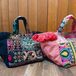 刺繍パッチワーク トートバッグ