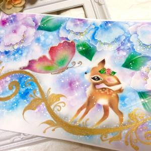 """""""蝶と子鹿""""の本当に可愛いみんなのパステルアート"""
