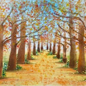 オーダー作品『銀杏並木』のパステルアート