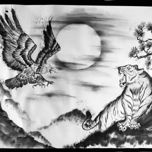 オーダー作品『闘う虎と鷹』墨絵作品