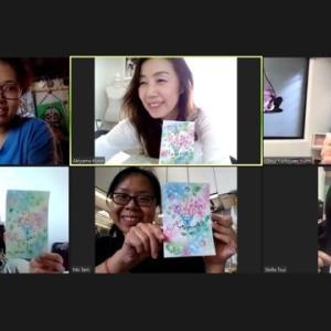 中国語通訳付き・海外の方対象のウェディングパラソルのパステリア書講座