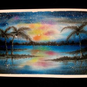 ハワイの天の川&新緑&花言葉のパステリア書の癒しアート