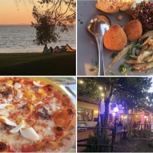 久しぶり湖畔の夕焼けおいしい食事、トラジメーノ湖