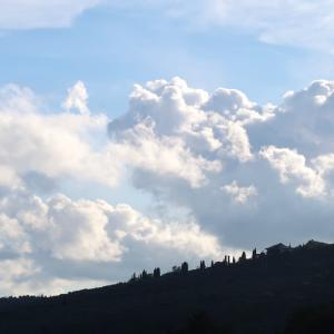 大空に湧き上がり伸びる白い雲