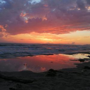 部屋に蚊が多い宿でも海で美しい夕焼け、マレンマ・トスカーナ
