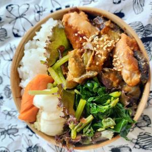 9/10(木)鶏と茄子のピリ辛ゴマ味噌炒め弁当。
