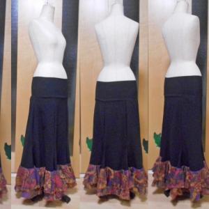 ファルダ 黒×紫オレンジ 二段フリル