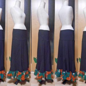 ファルダ 黒×オレンジ緑 1段フリル