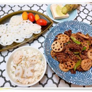 「ほたるの里レンコン」で3品♪新蓮根のお刺身・牛肉と蓮根炒め・蓮根炊き込みご飯