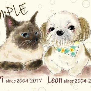 ワンちゃんと猫ちゃんのイラスト描かせて頂きました