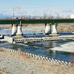 多摩川の水量減る